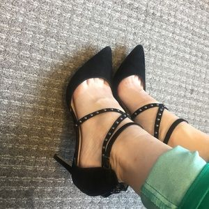 Suede 14th and Union strappy heels